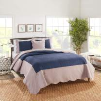Nestl Bedding 4-Piece Celtic Cable Microfiber Queen Quilt Set with Pillow Shams, Navy/Taupe