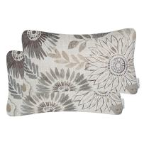 Mika Home Pack of 2 Decorative Oblong Rectangular Throw Pillow Cover Cushion Cases for Chair,Sunflower Pattern,12x20 Inches, Grey Cream