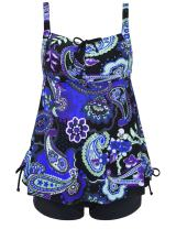 Septangle Women's Plus Size Bathing Suits Paisley Print Two Piece Swimsuit