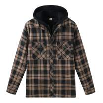 ZENTHACE Men's Thicken Plaid Hooded Flannel Shirt Jacket with Quilted Lined
