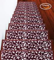 Stair Treads Leaves Collection Contemporary, Cozy, Vibrant and Soft Stair Treads, 9'' x 28'', Red & White, Pack of 7 [100% Polypropylene] Tape Applied