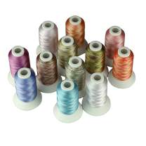Simthread 3 Options Embroidery Machine Thread Variegated Colors Multi Colors 12 Colors Per Set 550 Yards For Brother Janome Babylock Singer Pfaff Bernina Husqvaran Embroidery and Sewing Machines (MU1)