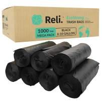 Reli. EcoStrong 6-10 Gallon Trash Bags (1000 Count Bulk) Eco-Friendly Recyclable - 6 Gallon - 10 Gallon Black Garbage Bags, Made of Recycled Material, Black Garbage Bags 8 Gallon (6-10 Gal Capacity)