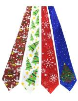 JEMYGINS Original 4PCS One-off Christmas Tie Mens and boys Necktie for Festival