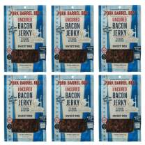 Sweet Bacon Jerky 6 Pack - Bacon Jerky By Pork Barrel BBQ, 2 oz (Pack of 6), Uncured, Gluten Free, Nitrate Free Bacon Jerky