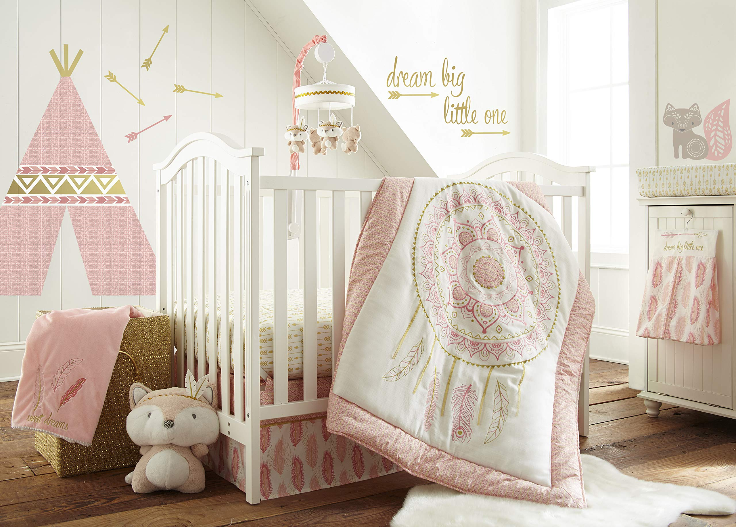 Levtex Baby - Little Feather Pink Crib Bed Set - Baby Nursery Set - Pink Coral Cream Gold - Dreamcatcher - 5 Piece Set Includes Quilt, Fitted Sheet, Diaper Stacker, Wall Decal & Skirt/Dust Ruffle