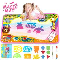 "FONLLAM Aqua Magic Mat-Kids Doodle Water Drawing Mat-Educational Toys for 2 3 4 5+ Girls Boys Toddlers with 3 Water Pens and Drawing Booklet, 34"" X 22.5"""