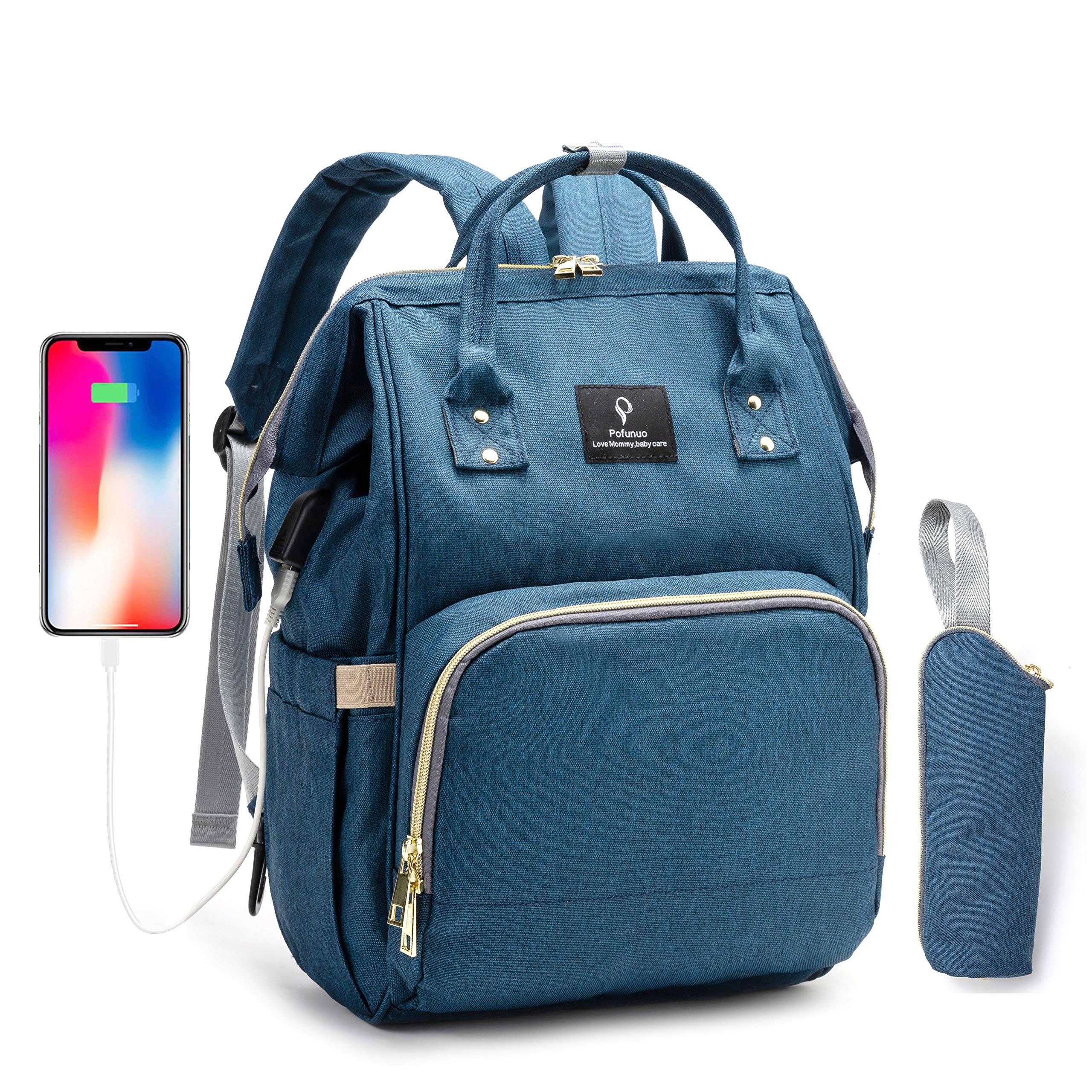 POFUNUO Diaper Bag Multi-Function Waterproof Nappy Travel Backpack for Baby Care with Stroller Hooks (Dark blue)