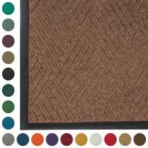 WaterHog Diamond   Commercial-Grade Entrance Mat with Rubber Border – Indoor/Outdoor, Quick Drying, Stain Resistant Door Mat (Medium Brown, 2' x 3')