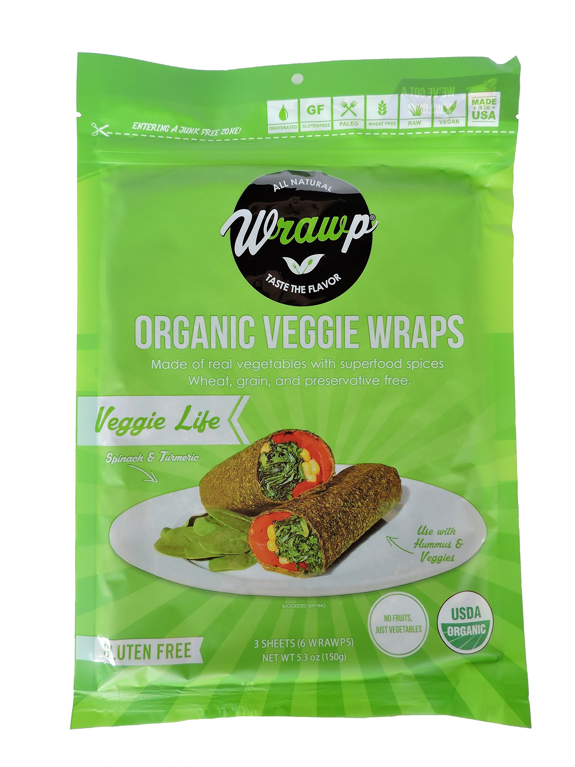 Wrawp Organic Veggie Flatbread, Life, 4.2 Ounce