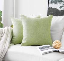 Home Brilliant Spring Throw Pillow Covers Decorative Burlap Linen Cushion Cover for Sofa Couch Bed, 18x18 inch, Set of 2, Grass Green