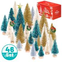 Whaline 46 Set Mini Christmas Trees Artificial Frosted Sisal Trees, Bottle Brush Trees with Wood Base DIY Crafts Mini Pine Tree for Xmas Holiday Home Tabletop Decor Winter Ornaments