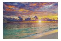 Bright & Colorful Sunset Over Ocean on Maldives 9017116 (Premium 1000 Piece Jigsaw Puzzle for Adults, 19x27, Made in USA!)