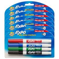 EXPO Low Odor Dry Erase Markers, Fine Tip, Assorted Colors, 6 Packs of 4 (24 Count)