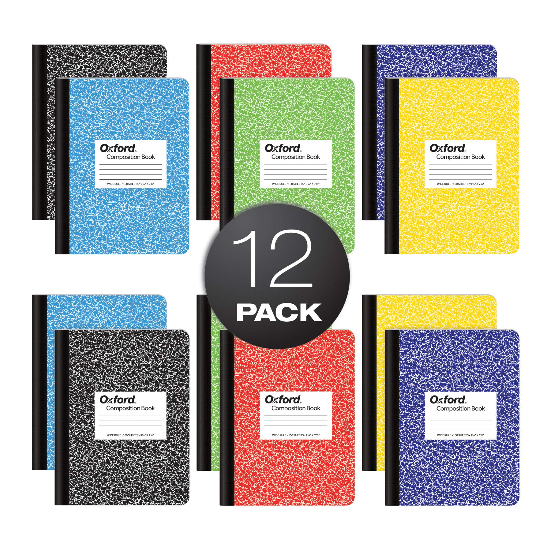 """Oxford Composition Notebooks, Wide Ruled Paper, 9-3/4"""" x 7-1/2"""", Assorted Marble Covers, 100 Sheets, 12 per Pack, Colors May Vary (63794)"""