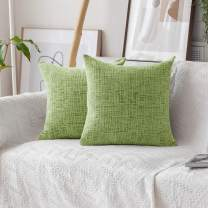 Home Brilliant Decorative Accent Pillow Covers Striped Chenille Velvet Cushion Cover for Couch, 2 Pack, 18x18-inch (45cm), Apple Green