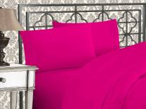 Elegant Comfort Luxurious 1500 Thread Count Egyptian Three Line Embroidered Softest Premium Hotel Quality 4-Piece Bed Sheet Set, Wrinkle and Fade Resistant, California King, Hot Pink
