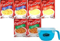 By The Cup Soup Bowl Bundle - Lipton Cup-a-Soup Instant Soup Pouches, Chicken Noodle with White Meat, Spring Vegetable and Cream of Chicken, 6 - 4 Count Boxes