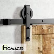 Homacer Sliding Barn Door Hardware Standard Single Door Kit, 9FT Flat Track Black Wheel Design Roller, Black Rustic Heavy Duty Interior Exterior Use