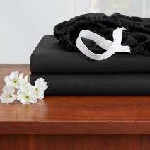 """Empyrean Bedding 14"""" - 16"""" Deep Pocket Fitted Sheet – Hotel Luxury Silky Soft Double Brushed Microfiber Sheet – Hypoallergenic Wrinkle Free Cooling Deep Pocket Bed Sheet, Set of 2 Twin - Black"""