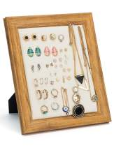 MICOM Earrings Display Holder Vintage Jewelry Frame Linen Pad Jewelry Display Organizer with 40 Pcs Pearl Pins (Burlywood)