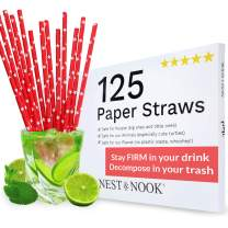 Paper Drinking Straws Biodegradable - 125 Disposable Drinking Straws Paper – Tall Paper Straws for Coffee Juice - Pretty Red with White Stars Party Supplies - Eco Friendly Straws of Cardboard Straw