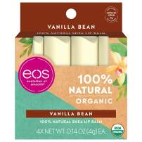 eos Natural & Organic Stick Lip Balm - Vanilla Bean | Certified Organic & 100% Natural | Deeply Hydrates and Seals in Moisture | 0.14 oz | 4-Pack | Packaging May Vary