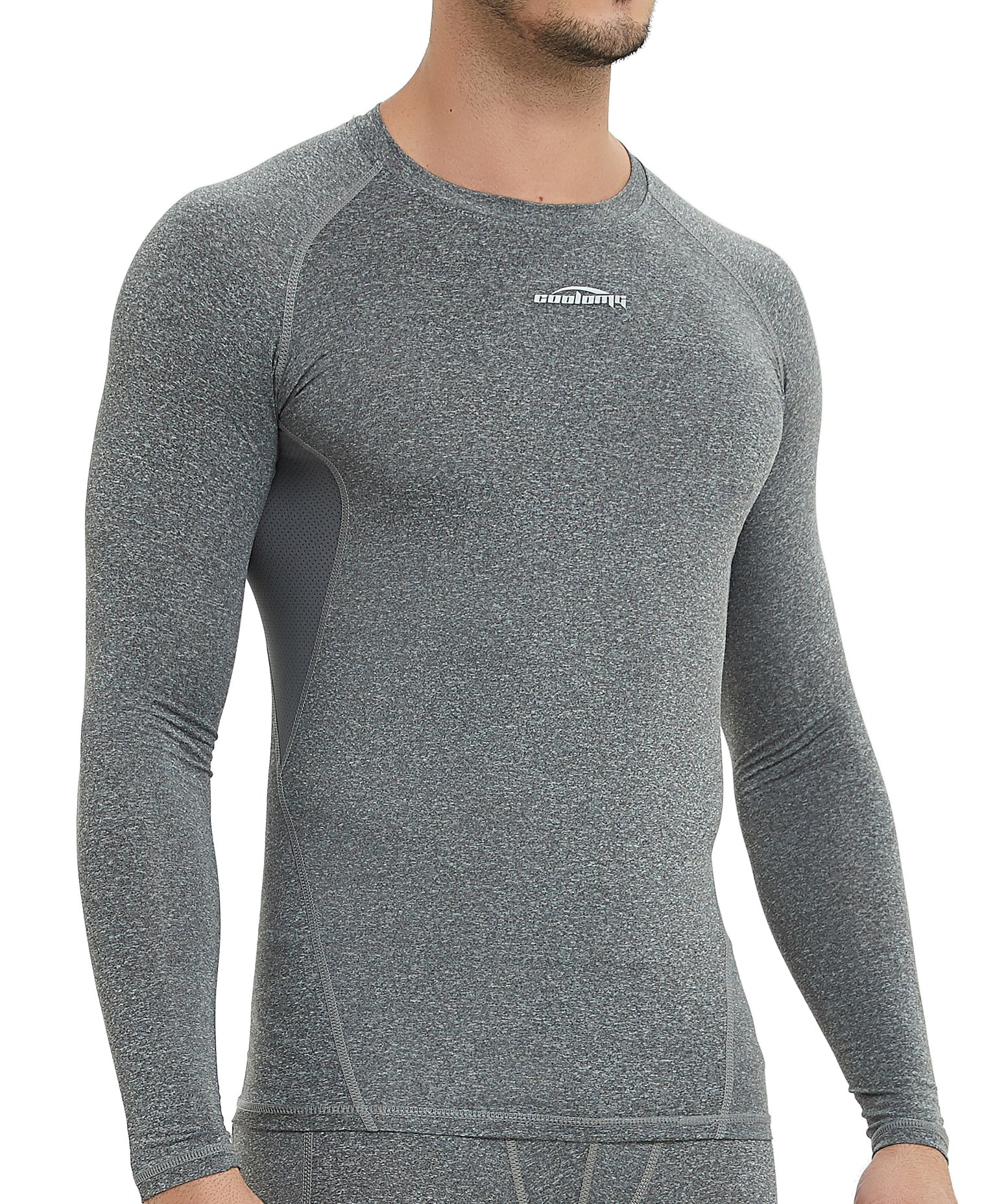COOLOMG Men's Long Sleeve Shirt Skin Fit Cool Dry Compression Top Baselayer