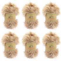 BambooMN JubileeYarn 50g Eyelash Ruffle Fur Yarn, 6 Skeins Sand