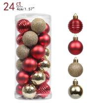 Valery Madelyn 24ct 40mm Luxury Red Gold Christmas Ball Ornaments, Shatterproof Xmas Balls Decoration, Themed with Tree Skirt (Not Included)