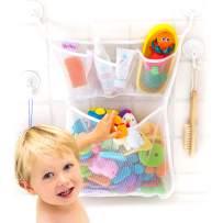 "Tub Cubby Bath Toy Organizer + Baby Rubber Ducky - 14""x20 Mold Resistant Mesh Net Basket - 3 Soap Shampoo Dividers - Keeps Kids Bathtub Games Dry - Suction & Sticker Hooks Shower Caddy Storage Bin Set"