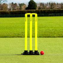 Flexi Cricket Stumps [Rubber Based] | Fluro Yellow Plastic Stumps & Bails (100% Portable)