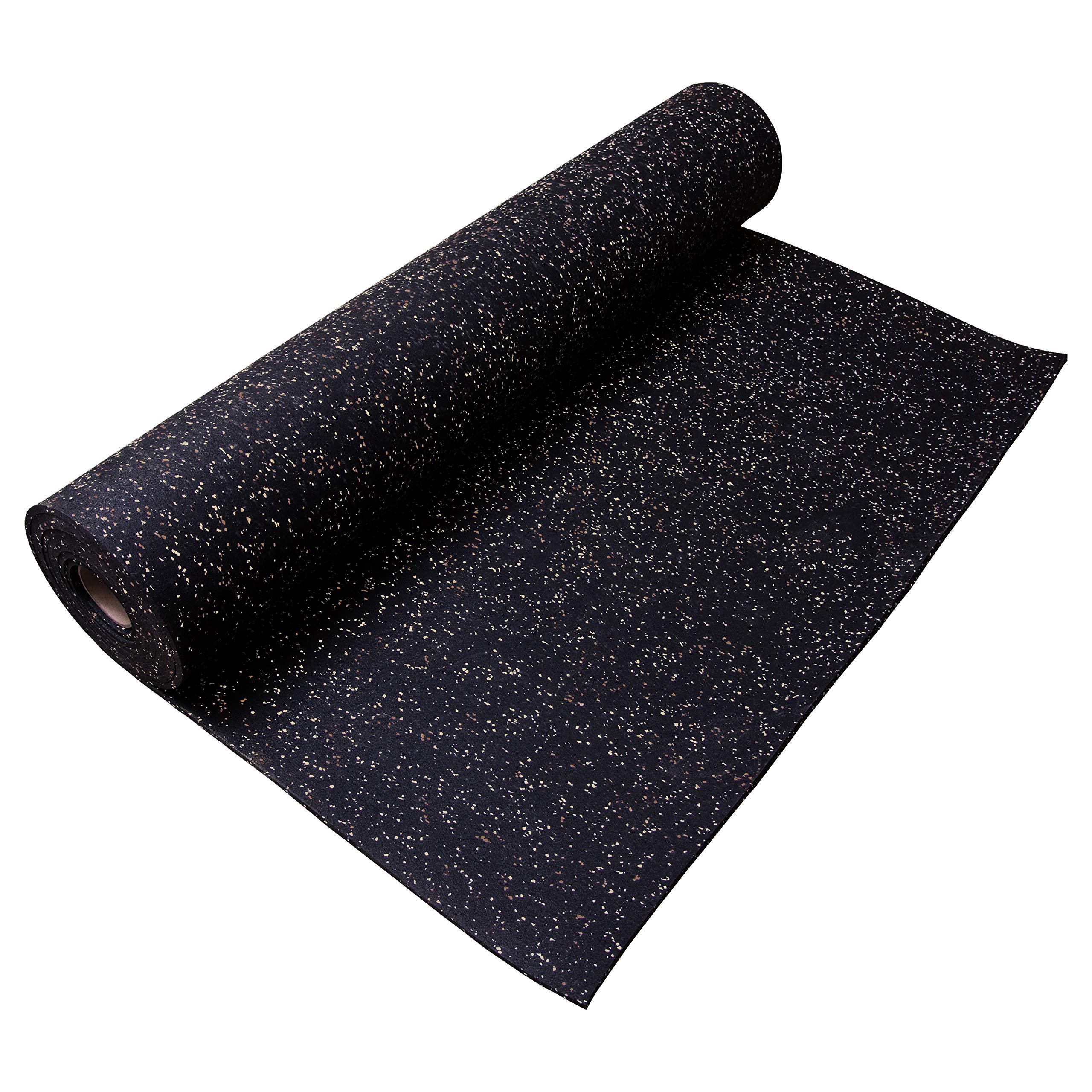 "IncStores 3/8"" Heavy Duty Gym Flooring Rubber Rolls (Brown/Tan, 40 sqft, 4' x 10')"
