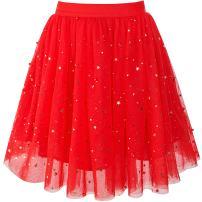 Sunny Fashion Girls Skirt Navy Blue Pearl Stars Sparkling Tutu Dancing Size 4-12