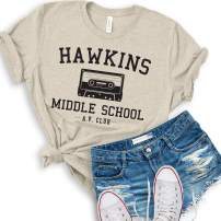 Hawkins Middle School A.V. Club | Women's Short Sleeve Vintage T-Shirt | Vintage Style 80s Costume AV Hawkins T-Shirt (XX-Large, Heather Natural)