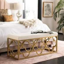 Safavieh Home Fleur 45-inch Glam Cream Velvet and Gold Rectangle Bench