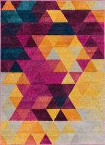 "Well Woven Multi Color 3x5 (3'3"" x 4'7"") Area Rug Geometric Barque Triangles Bright Fuchsia Purple Blue Yellow Vibrant Abstract Triangle Pattern Contemporary Thick Soft Plush"