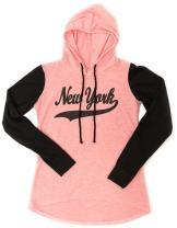 Sweet Gisele New York Womens Hoodie Glitter & Rhinestone Grey, Blue & Pink