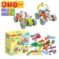 ETI Toys, STEM Learning, 62 Piece Lil Engineers Build & Play 2 SUV Design Building Blocks. 100 Percent Safe, Fun, Creative Skills Development. Gift, Toy for 8, 9, 10 Year Old Boys and Girls