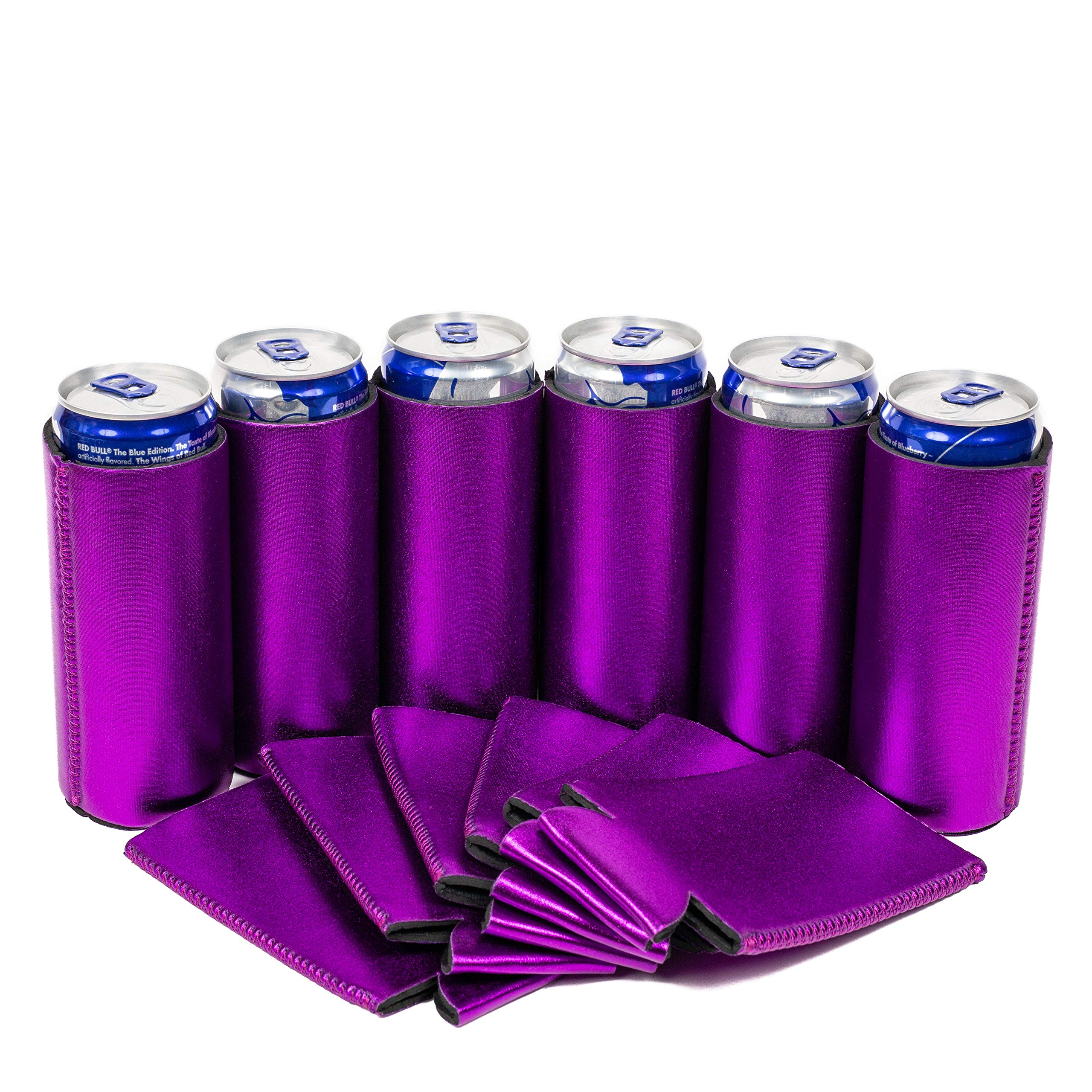 QualityPerfection 6 Slim Can Cooler Sleeve - Beer Blank Skinny 12 oz Neoprene Coolie - Perfect For 12oz RedBull,Michelob Ultra,Truly (6, Metallic Purple)