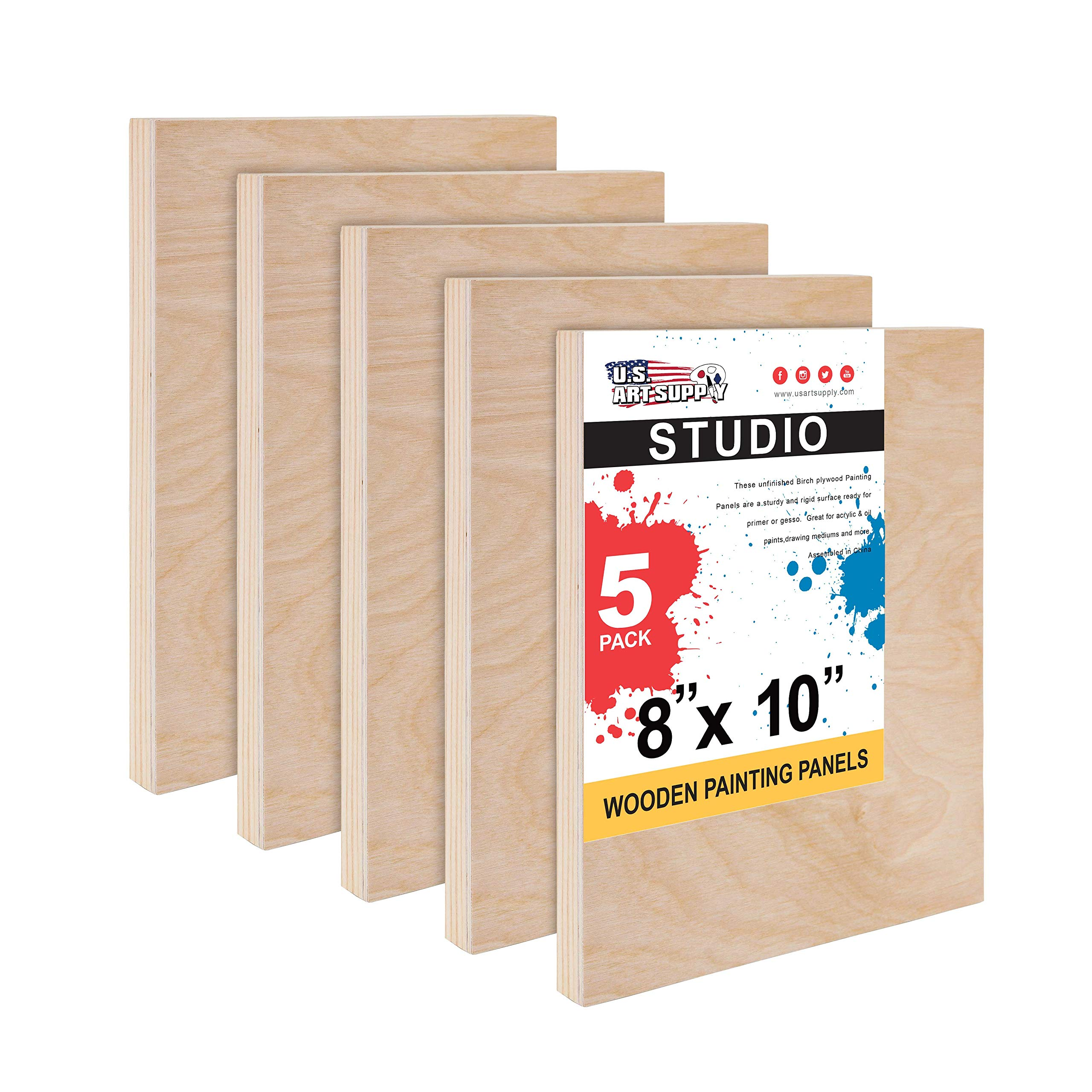 """U.S. Art Supply 8"""" x 10"""" Birch Wood Paint Pouring Panel Boards, Studio 3/4"""" Deep Cradle (Pack of 5) - Artist Wooden Wall Canvases - Painting Mixed-Media Craft, Acrylic, Oil, Watercolor, Encaustic"""