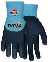 MCR Safety Ninja FLT N9659KDS Work Gloves, 15 Gauge Nylon Shell, Feather Lite Technology(FLT) Coated Palm Knuckles & Fingers, Small
