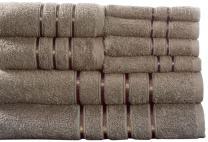 Lavish Home 8 Piece 100% Cotton Plush Bath Towel Set - Taupe