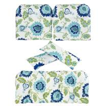 Art Leon Outdoor/Indoor Home Chair Seat Cushions 5 Pieces Seat and Back Cushion Set for Patio Deep Seat,Wicker Loveseat,Settee,Bench(Blue Floral)
