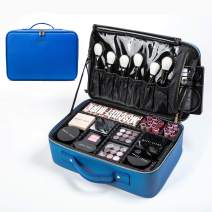 makeup train cases travel Makeup Bag Cosmetic bag Storage Organizer with Removable Dividers (medium, blue)