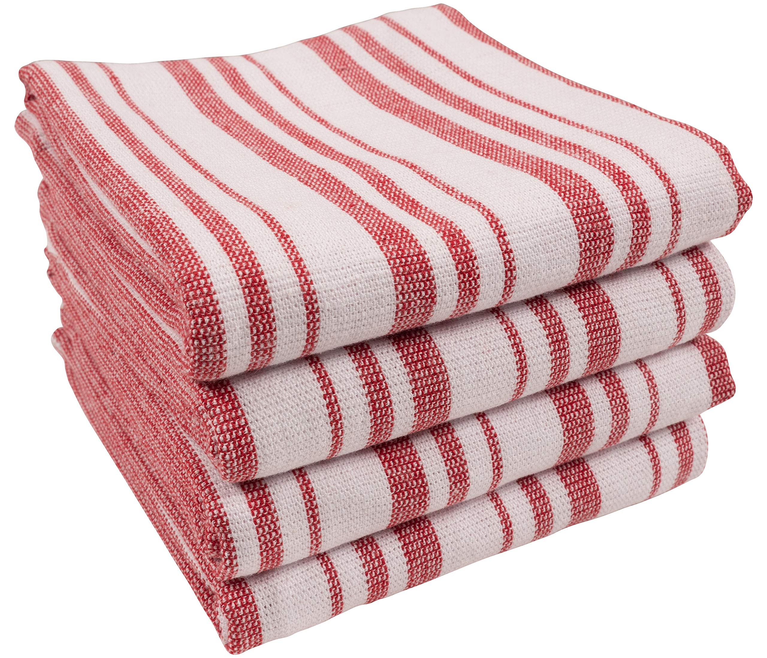 Kaf Home York Casserole Stripe Reversible Terry Cloth Kitchen Towels Set Of 4 100 Cotton Absorbent And Function Kitchen Utility Towels Red