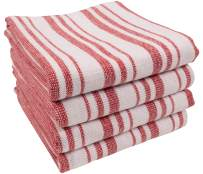 KAF Home York Casserole Stripe Reversible Terry Cloth Kitchen Towels   Set of 4 100% Cotton Absorbent and Function Kitchen Utility Towels - Red