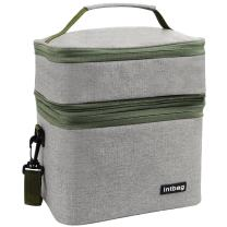 INTBAG Adult Lunch Box Insulated Lunch Bag for Men,Women, Large Refrigerated Tote Bag Double Deck Cooler for Work Office School Leisure, Picnic Bag Grey
