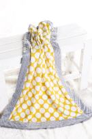 Bacati - Yellow Dots with Grey Border Plush Blanket (Yellow Dots/Grey Border)