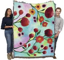 Pure Country Weavers Jambalaya Floral Regina Moore Blanket Throw Woven from Cotton Made in The USA 72x54
